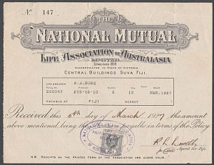 FIJI 1927 GV 2d used on Insurance policy receipt - unusual revenue use......A640