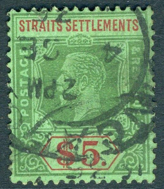 STRAITS SETTLEMENTS-1926 $5 Green & Red/Green Sg 240a GOOD USED V18748