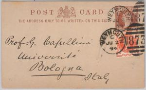 GB  - POSTAL HISTORY:  POSTAL STATIONERY CARD from WEYMOUTH to ITALY  1894