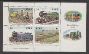 Ireland 584a Trains Souvenir Sheet MNH VF