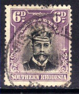 Southern Rhodesia 1924 - 29 KGV 6d Black & Mauve used SG 7 ( D1196 )