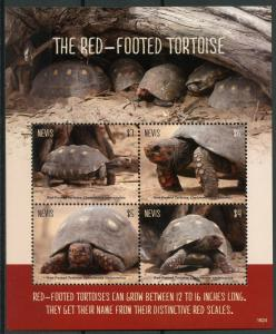 Nevis Turtles Stamps 2018 MNH Red-Footed Tortoise Tortoises Reptiles 4v M/S