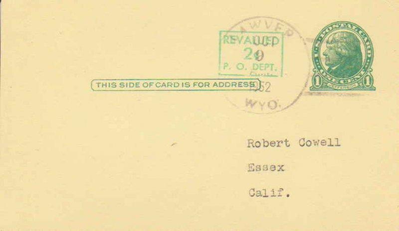 United States Wyoming Lawver 1952 4b-bar  1921-1953  Postal Card  Philatelic.