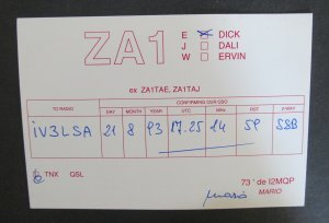 6278 Amateur Radio QSL Card Tirana Albania