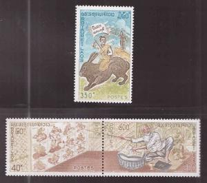 LAOS Scott 261, 262a-263 MH* Year of the Rabbit set