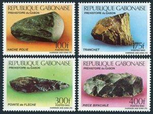 Gabon 685-685C,685d sheet,MNH.Michel 1057-1060,Bl.65. Prehistoric Tools,1990.
