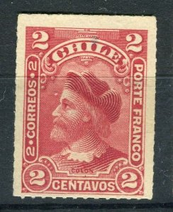 CHILE; 1900 early Columbus Rouletted issue Mint hinged Shade of 2c. value