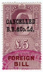 (I.B) Edward VII Revenue : Foreign Bill £5 (BB & Co pre-cancel)