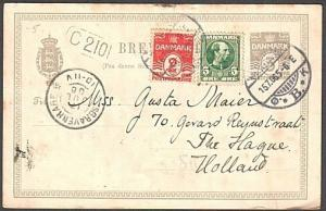 DENMARK 1906 3ore postcard uprated used to Holland.........................76380