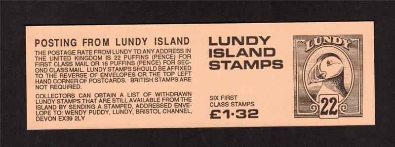 LUNDY: £1.32 BOOKLET COVER UNFOLDED