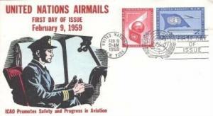 UN #C6/7 - 5c & 7c AIRMAILS FDC - Overseas Mailers
