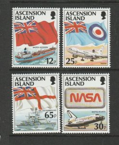 Ascension 1997 Flags with Ships, Aircraft, UM/MNH SG 709/12
