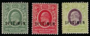 *32-45, 3 SPECIMEN OVERPRINTS EAST AFRICA & UGANDA PROTECTORATES