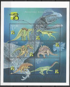 Nevis MNH S/S Prehistoric Animals Dinosaurs 6 Stamps