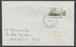 NORFOLK IS 1995 cover to New Zealand - 20c Whaler 'Canton...................A722