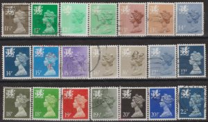 0770) G.B.- Wales. 1980/93. Used. Small Collection of Machins. c£19+.