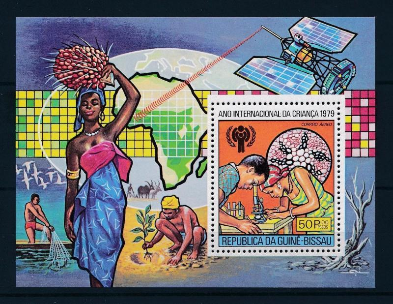 [50023] Guinea Bissau 1979 Year of the child Microscophe Fishing MNH Sheet