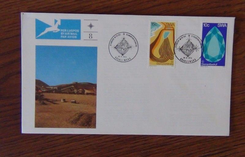 South West Africa 1974 Diamond Mining on First Day Cover