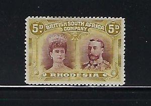 RHODESIA SCOTT #107 1910 DOUBLE HEAD 5D PERF 14- MINTLIGHT HINGED