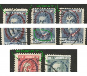 ALBANIA - 5 USED STAMPS - MORE ERRORS ON OVERPRINT - LOOK SCAN - 1928.