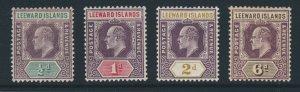 LEEWARD ISLANDS King Edward VII 1905-8 Wmk Mult Crown CA SG 29 to SG 34 MINT