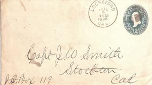 United States California Lockeford 1896 cork killer  Postal Stationery Envelo...