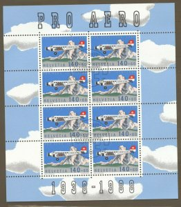 Switzerland, 1988 Pro Aero, Miniature Sheet of 8 FDC,  superb