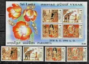 #7902 SRI LANKA(CEYLAN) 1994,RELIGION,VESAK FESTIVAL SET+S/SHEET YV1040A-D BL52A