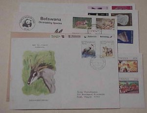 BOTSWANA 7 DIFF. FDC CACHET 6 ARE UNADDRESSED