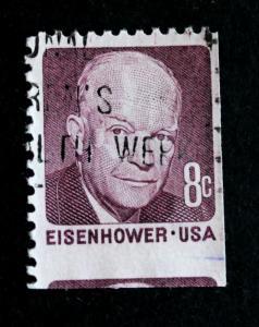 US Stamp ERROR / EFO Sc# 1395 Used Eisenhower JUMBO Partial 2nd Stamp