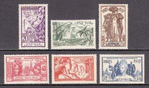 French Equatorial Africa - Scott #27-32 - MLH - Toning, glazed gum - SCV $14.60
