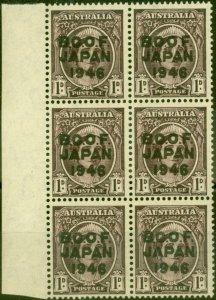 Australia B.C.O.F Japan 1946 1d Brown-Purple SGJ2 V.F MNH Side Marginal Block...