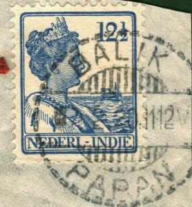NETHERLANDS INDIES Stamp 12½c *BALIK PAPAN* CDS Postmark Piece 1912 OGREEN113