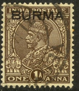 BURMA 1937 KGV 1a Dark Brown Portrait Issue Sc 4 VFU