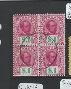 SARAWAK (P0703B) $1.00 BROOKE SG47 BL OF 4 SON CANCEL VFU POSSIBLY UNIQUE!!