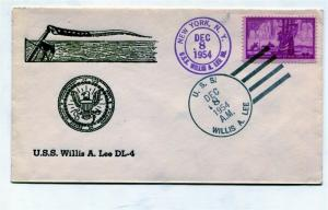 US Naval Ship Cover - USS WILLIS LEE (DL 4) 1954
