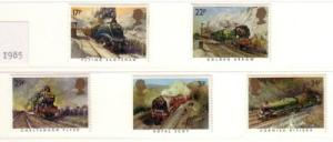 Great Britain Sc 1093-7 1985 great Western Rwy stamp set mint NH