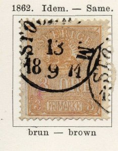 Sweden 1862 Early Issue Fine Used 3ore. NW-04587