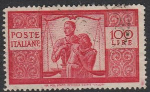 Stamp Italy SC 477 1946 United Family and Scales Justice Law Equality Used