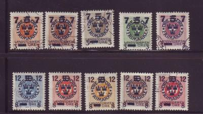 Sweden Sc B22-31 1918  militia overprint stamp set used