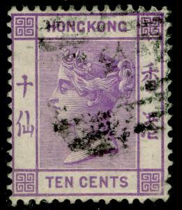 HONG KONG SG30, 10c mauve, USED. Cat £18. WMK CC.
