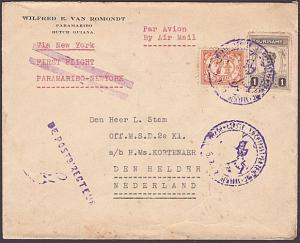 SURINAME 1929 First flight cover Paramaribo to New York - then to Holland...5360