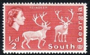South Georgia 1a, Perf. 14x15, MNH. Definitive. Reindeer, 1967