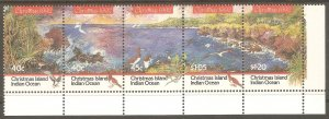CHRISTMAS ISLAND Sc# 347 MNH FVF 5-Strip Bird Ocean Bay Palm Tree