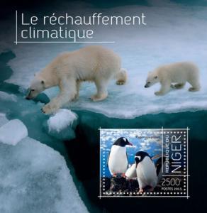 NIGER 2013 SHEET GLOBAL WARMING POLAR BEARS PENGUINS nig13712b