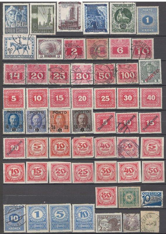 COLLECTION LOT # 1418 AUSTRIA 57 BOB STAMPS 1874+