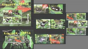 KS 2015,2016 TONGA NIUAFO'OU SAMOA BUTTERFLIES MICHEL 1170 EURO KB+7BL+SET MNH