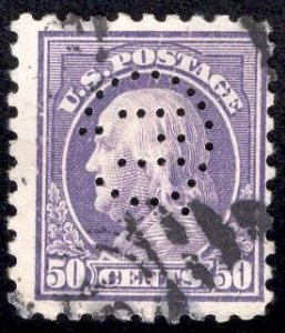 US Stamp #477 50c Franklin USED SCV $80. Perfin cancel