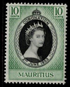 MAURITIUS QEII SG291, 10c 1953 CORONATION, M MINT.