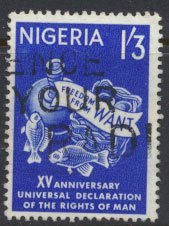 Nigeria  SG 143 Used 1961 Human Rights   please see scan